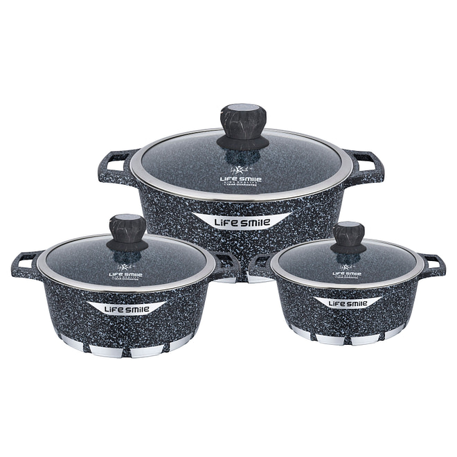 Life Smile Cookware Set with Granite Coating
