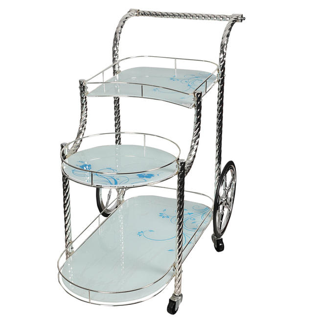 Life Smile Silver Serving Trolly