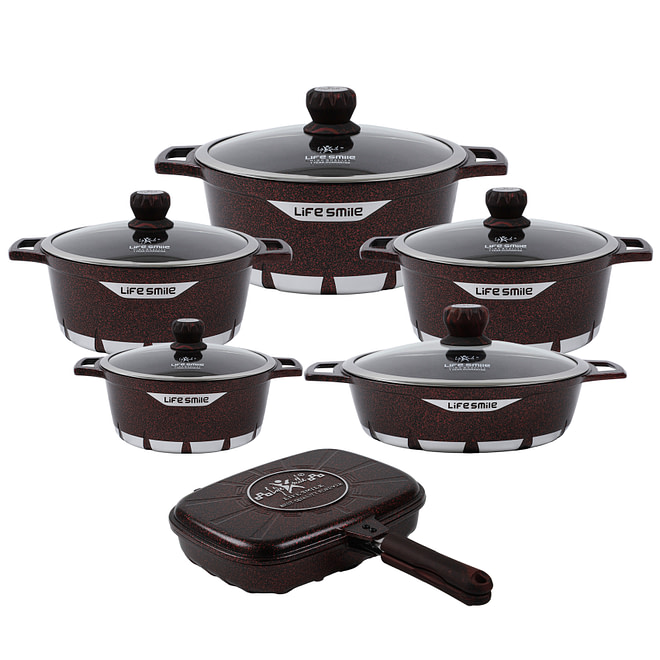 life smile 12 PCS Cookware Set with Granite Coating