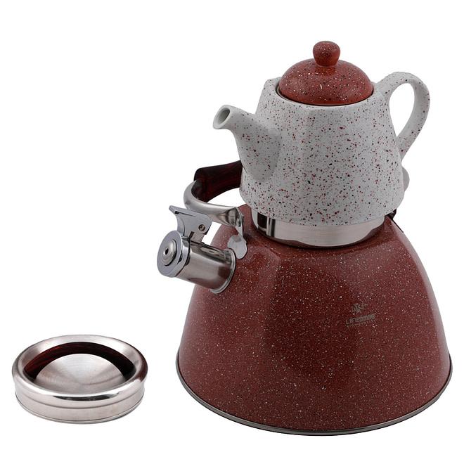 Life Smile Stainless Steel Whistling Kettle 3.0L & Granite Tea Pot 1.0L