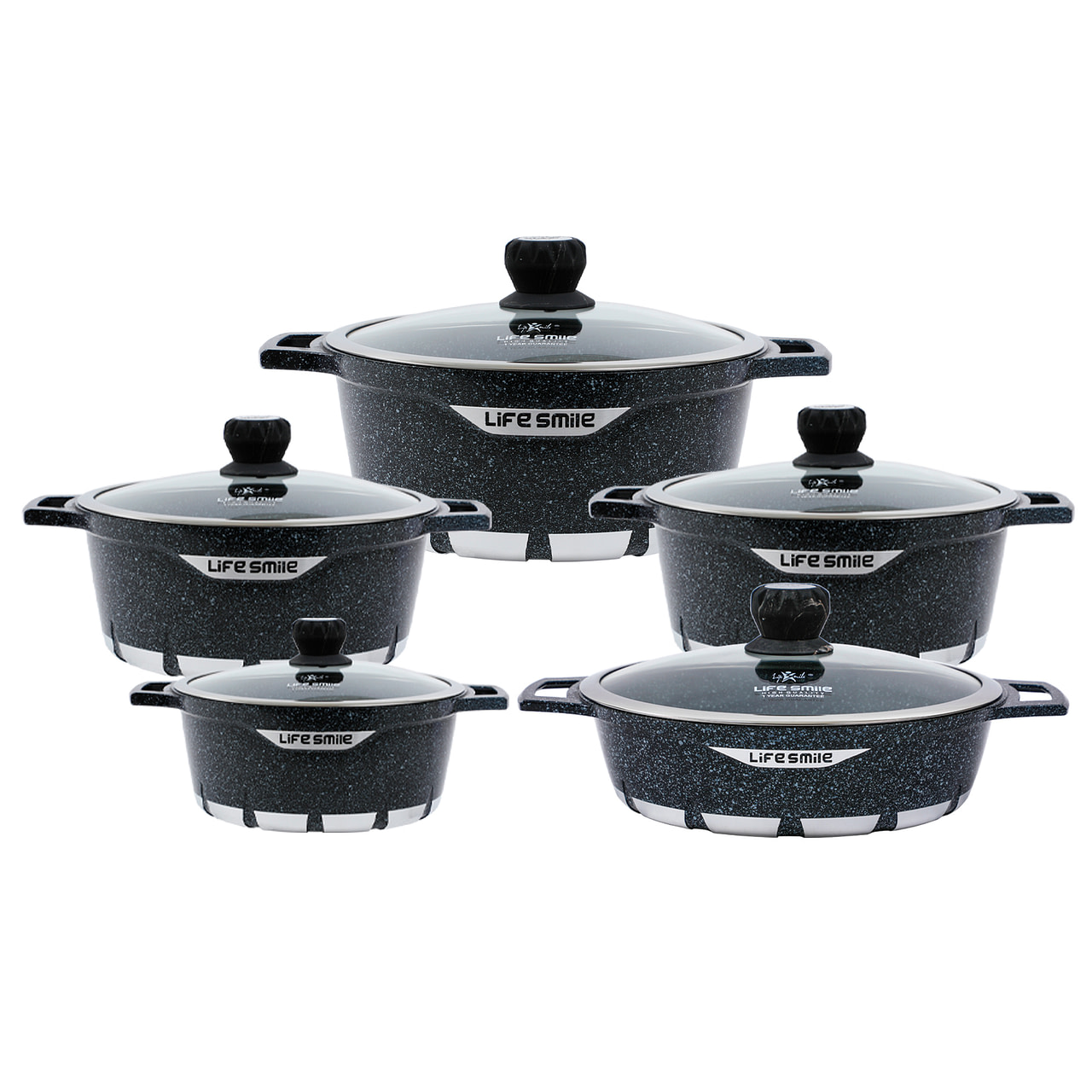Life Smile 10PCS Cookware Set with Granite Coating