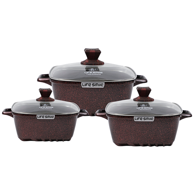 Life Smile Square Cookware Set with Granite Coating