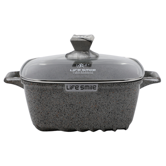 Life Smile Square Soup Pot with Granite Coating