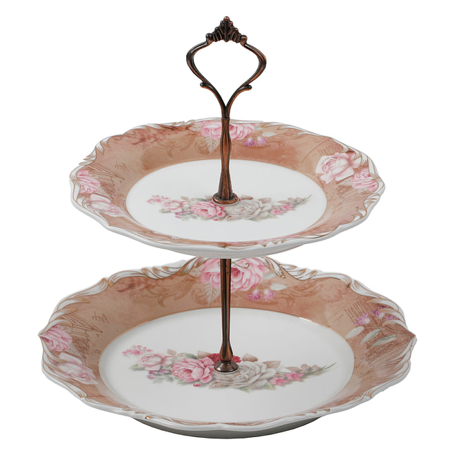 Life Smile 2 Layer Sweet Plate with Metal Stand